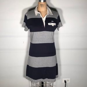Lacoste Rugby Striped Polo Mini Shirt Dress 36